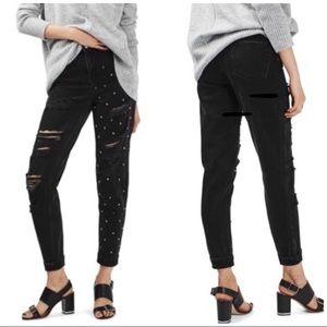 Topshop Mom High Waist Rip Studded Jeans